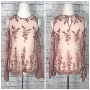American Rag Pink Lace Bell Sleeve Embroidered Top